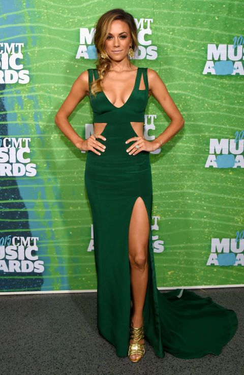 Jana Kramer in Lorena Sarbu dress. See all the looks from the 2015 CMT Music Awards.
