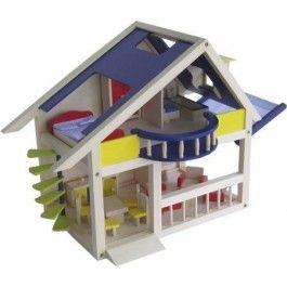 Mooi modern poppenhuis met balkon en zwevende wenteltrap!