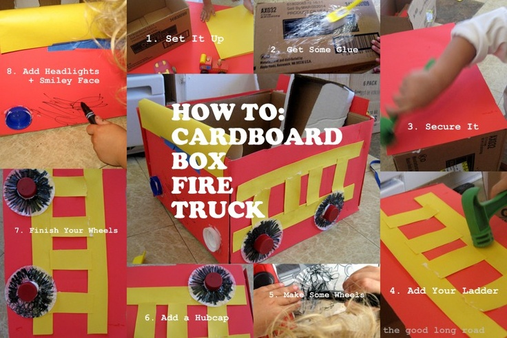 Fire truck from recycled cardboard box and other recycled materials #recycle #firetruck #cardboardchallenge