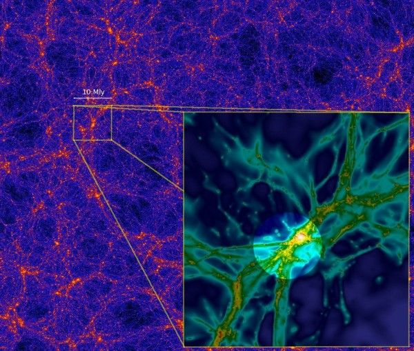 "Computer simulations suggest that matter in the universe is distributed in a ""cosmic web"" of filaments, as seen in the image above from a la..."