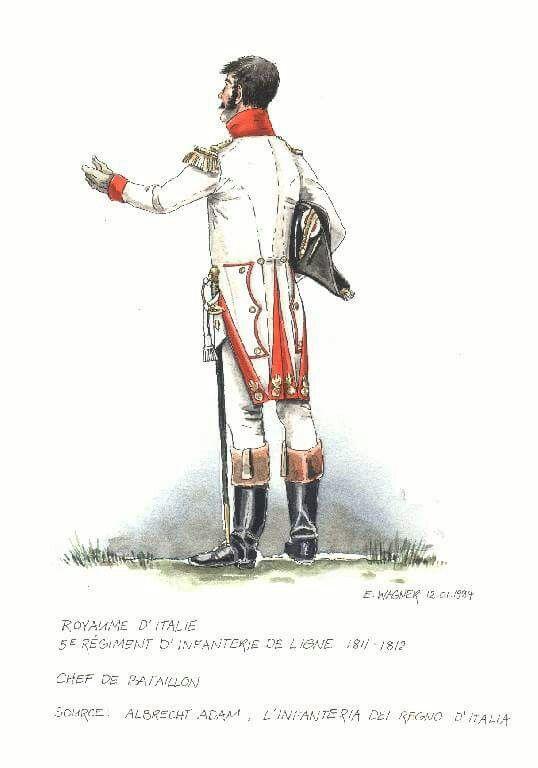 1811 - 1812, Fanteria, Linea, 5° Reggimento.  Ufficiale di battaglione.