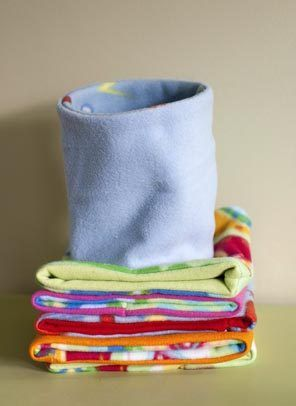 These handmade fleece neck gaiters are a great alternative to unwieldy scarves, especially for kids, and can be customized with two different colors or patterns.