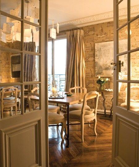 Love The Doors Between Rooms Gr Classic Paris Apartment Beautiful Herringbone Floors And Golden Hues Give Room A Warm Casual Elegance