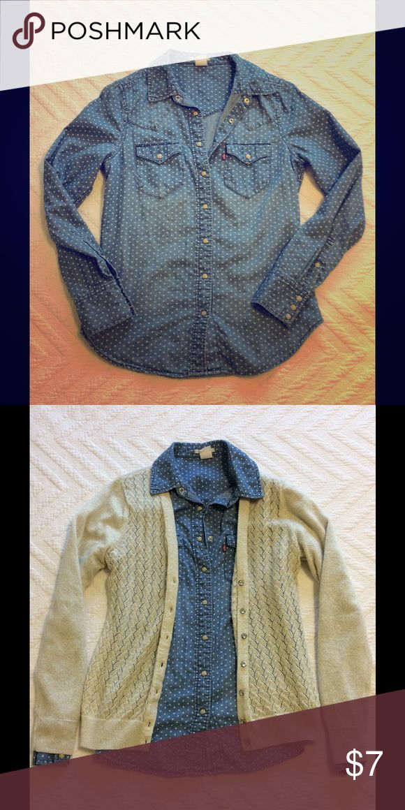 Long sleeve top Polka dot/ denim long sleeve with pearl Buttons levi's Tops Button Down Shirts