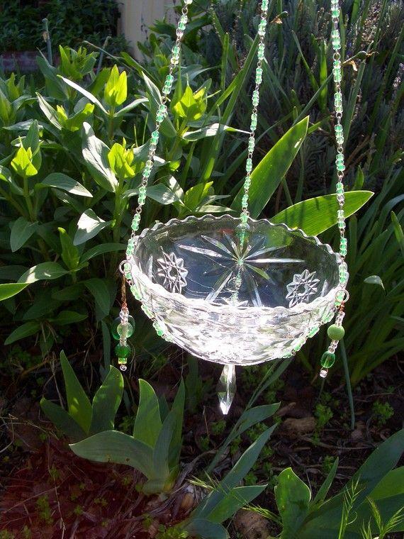 Repurposed Glass Bowl Birdfeeder Suncatcher Votive Holder Yard Ornament oh the possibilities via Etsy