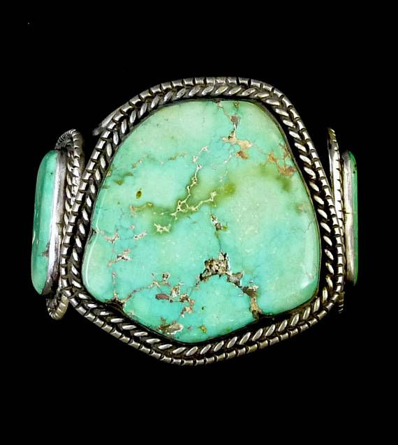 130g Vintage Old Pawn Navajo Sterling Silver Cuff Bracelet w BREATHTAKINGLY BEAUTIFUL Fox Mine Turquoise! Huge Stunning Classic!