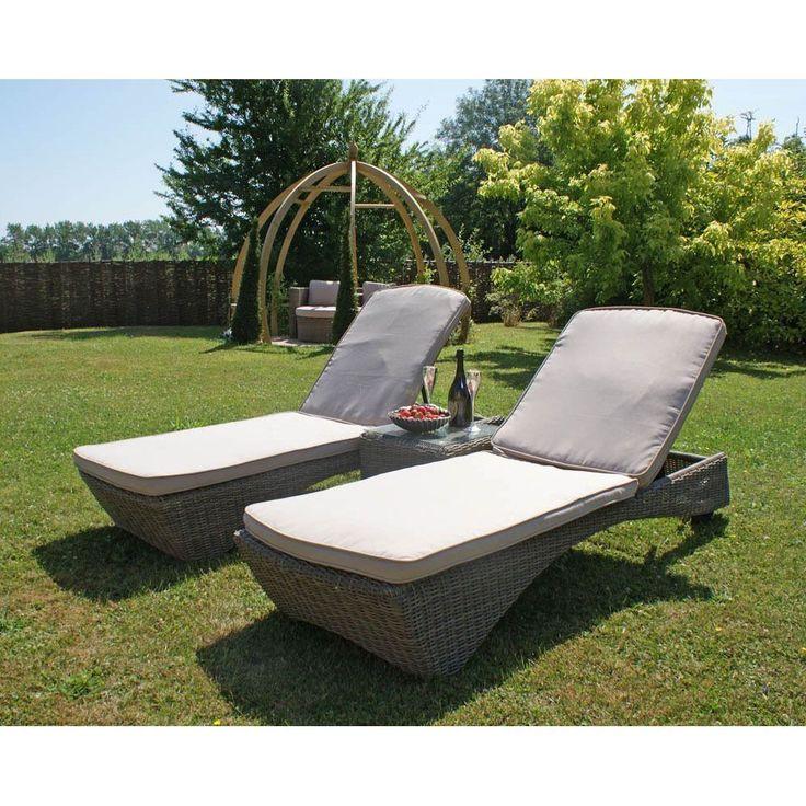 Rattan Sun Lounger Set Aluminum Frame Cushions Outdoor Garden Patio Furniture
