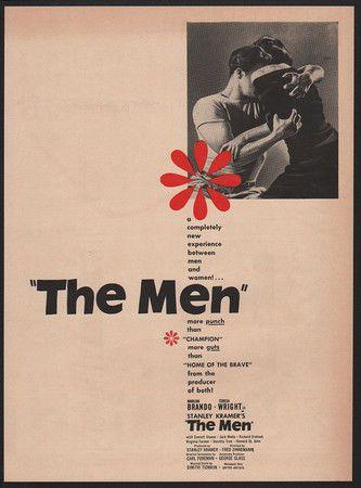1950 THE MEN Movie - MARLON BRANDO - TERESA WRIGHT VINTAGE AD