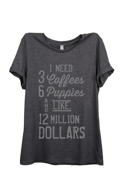 I Need 3 Coffees 6 Puppies and Like 12 Million Dollars is featured on a crew neck, short sleeve and a modern relaxed fit for effortless style. printed on quality constructed blend materials, these shirts are perfect with a pair of jeans or shorts. available in charcoal and heather gray. Heather Tri-Blend: 50% Poly, 25% Combed and Ring-Spun Cotton 25% Rayon. Charcoal: Super Soft Blend: 52% Cotton 48% Polyester. relaxed fit, crew neck and printed in USA.