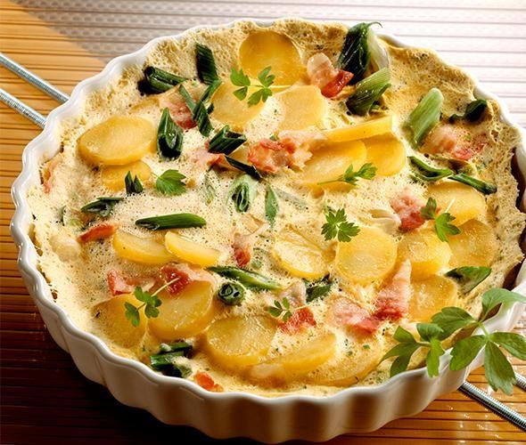 Rezept: Kartoffelauflauf mit Schinken, Frühlingslauch und Ei bei for me