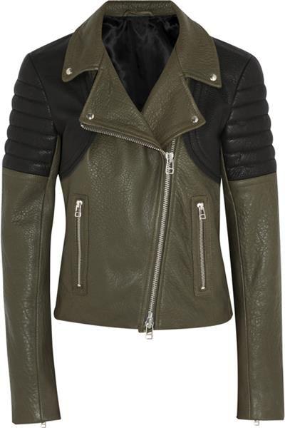 Женская кожаная куртка хаки магазин