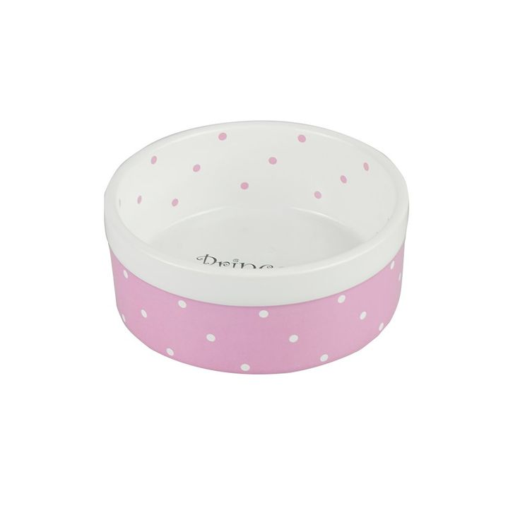 Ihoming Pet Ceramic Bowl Food Water Dot Dish For Middle Dogs And Cats 5 5 Inches Diameter 2 3 Inches Height Pink Proceed Dog Bowls Cat Food Bowl Pet Bowls