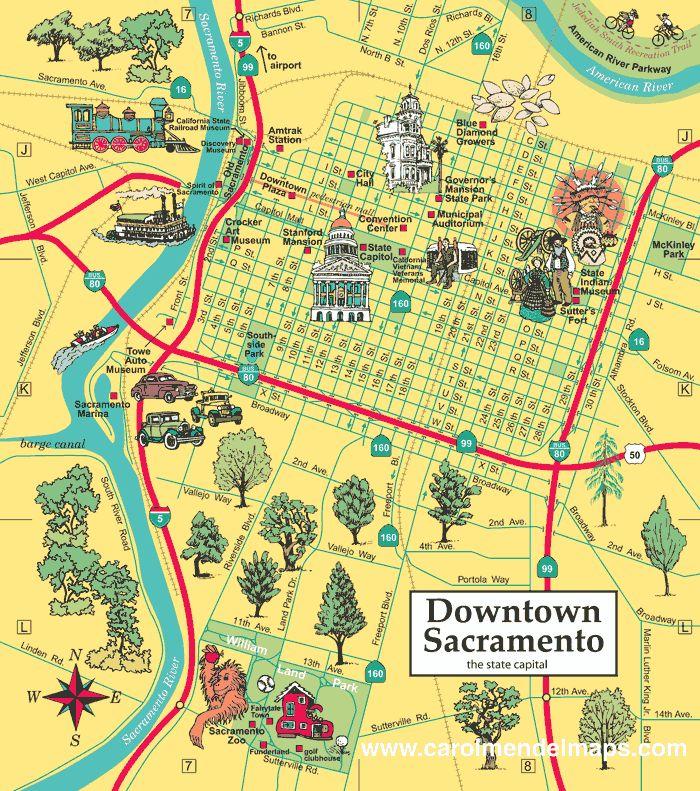Downtown Sacramento Map Enlarged Birthday Party Ideas