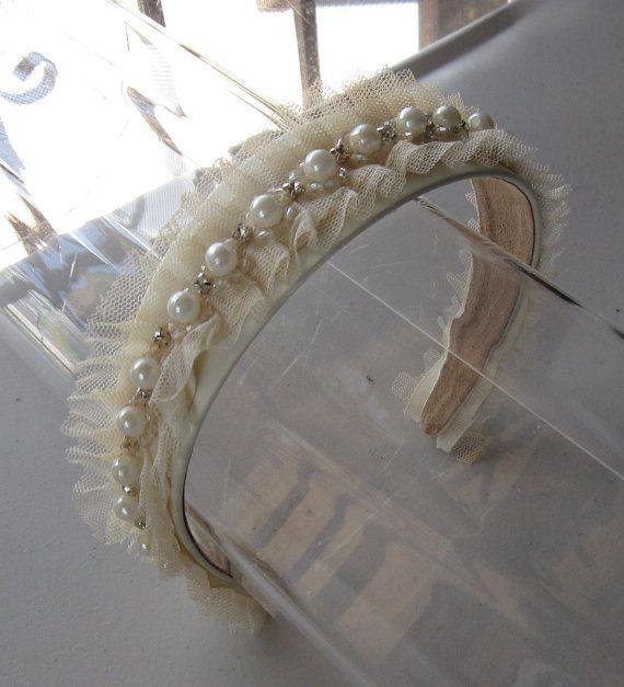 Ivory Pearl Crystal Beaded Tulle Headband for by HettieSilovitz, $45.00