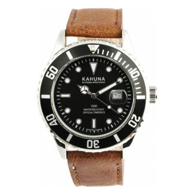 Kahuna - Men\'s Brown Leather Strap Black Dial Watch - KUS-0103G - RRP: £39.95 - Online Price: £34.00