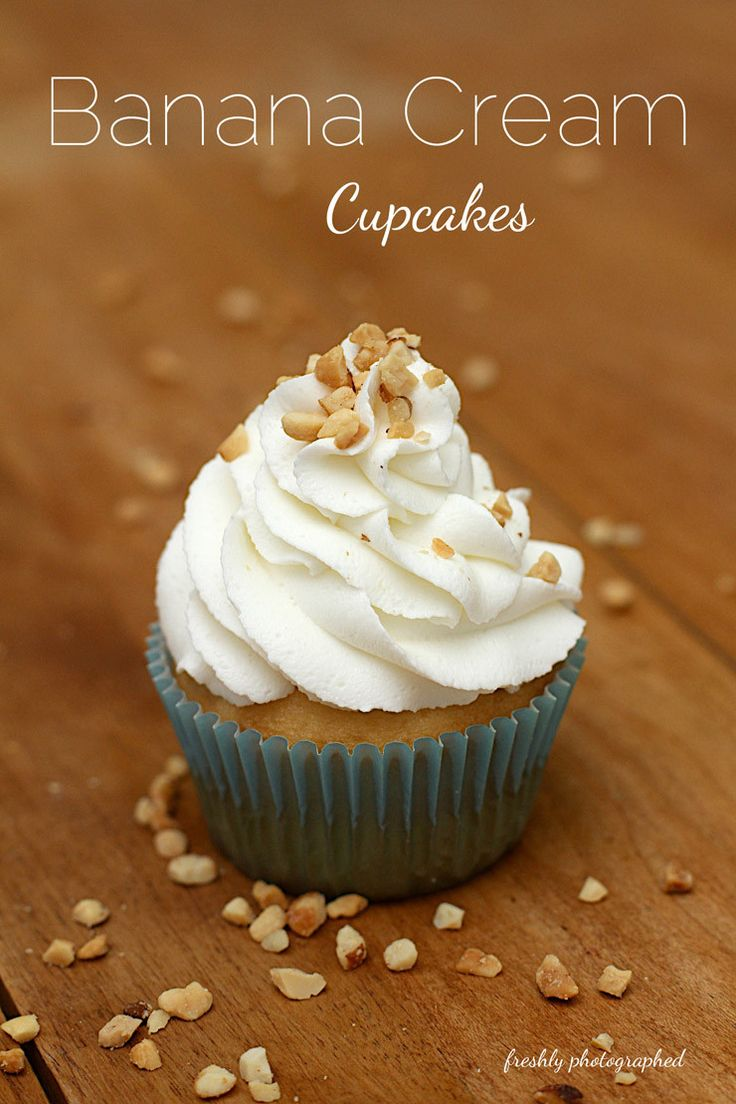These Banana Cream Cupcakes are moist and rich with a banana pudding filling surprise in a french vanilla cupcake topped with banana buttercream frosting.