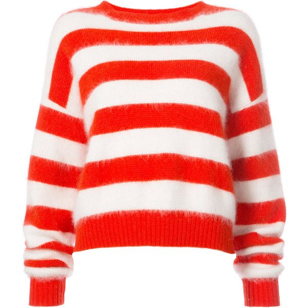 Dvf Diane Von Furstenberg Striped baseball pullover ($368) ❤ liked on Polyvore featuring tops, sweaters, red, crew-neck sweaters, crewneck sweaters, red stripe sweater, red sweater and red pullover sweater