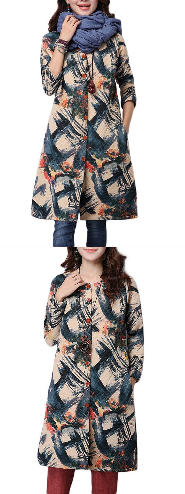 Eamp;o coats women print single breasted loose long sleeve vintage coat #coats #epic #thread #coats #in #spanish #coats #lord #and #taylor #j #w #coats