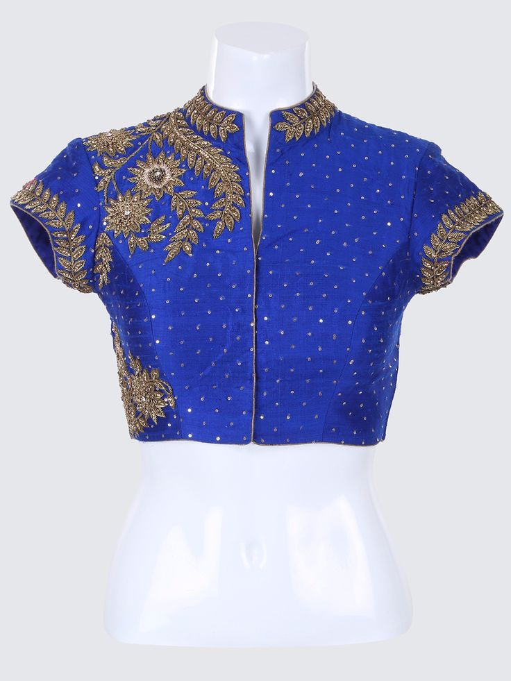 G3 Exclusive Blue Designer Raw Silk Ready Made Blouse