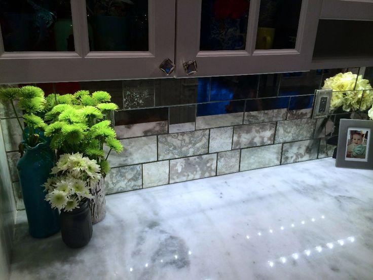 Antique Mirror Tiles Kitchen Backsplash-Update | Antique ...