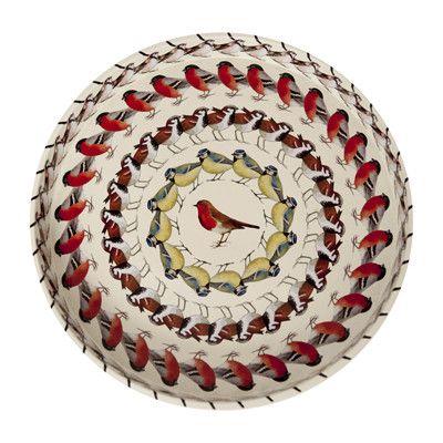 A striking kaleidoscope of birds on a circular serving tray.