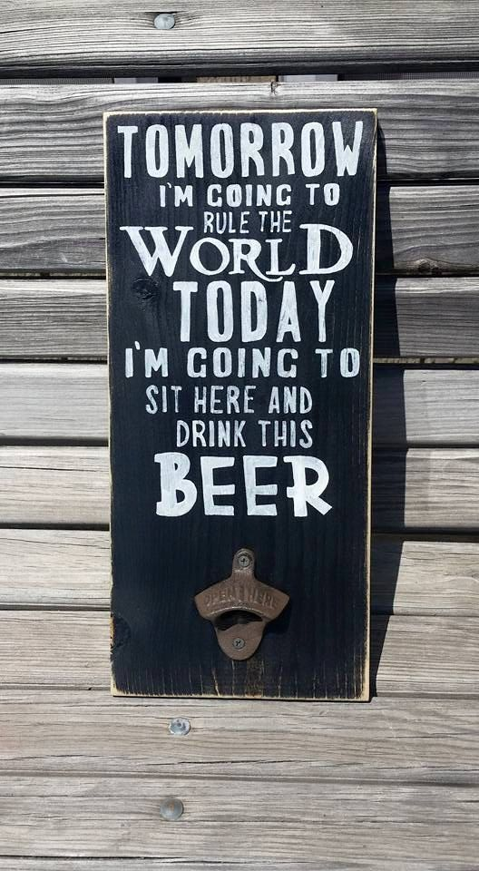 Wooden Beer Sign - Wood Mancave Decor - Shop Wall Hanging - Man Cave Sign - Drink this Beer - Groomsman Gift - Bottle Cap Opener - Alcohol - pinned by pin4etsy.com