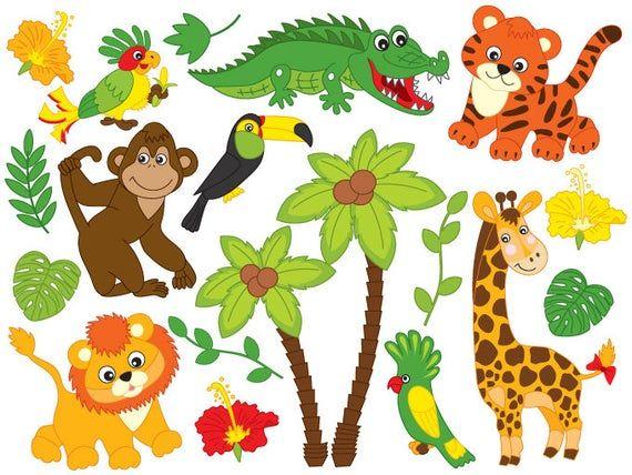 Jungle Animals Clipart Digital Vector Safari Animals Lion Etsy In 2021 Animal Clipart Safari Animals Jungle Animals
