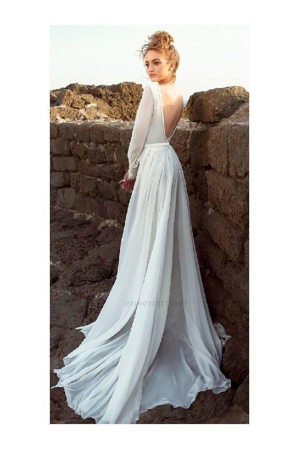 Substantial Backless Wedding Dress, Chiffon Wedding Dress, Long Sleeves Wedding Dress