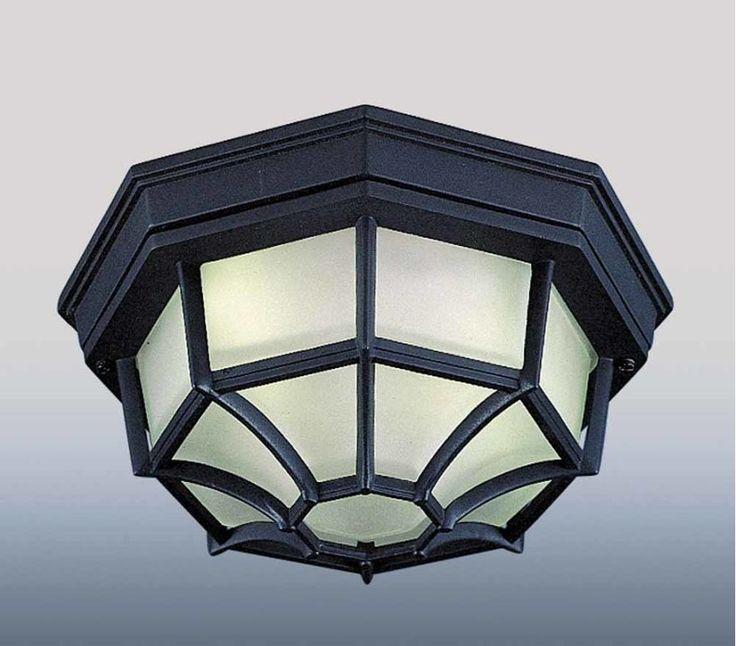Volume Lighting V8857 1 Light Flush Mount Outdoor Ceiling Fixture with Frost Gla Black Outdoor Lighting Ceiling Fixtures Flush Mount