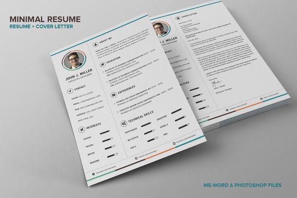Minimal Resume CV by SNIPESCIENTIST on Creative Market