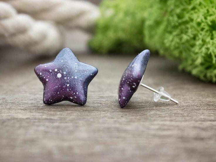 Galaxy csillag gyurma beszúrós fülbevaló