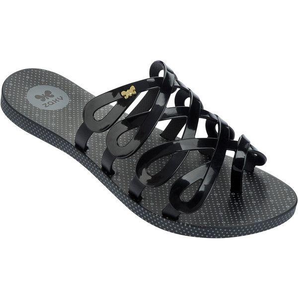 Zaxy Black Flip Flops - Fresh Infinity Fem Black ($36) ❤ liked on Polyvore featuring shoes, sandals, flip flops, black, kohl shoes, black sandals, black shoes, black flip flops and infinity shoes