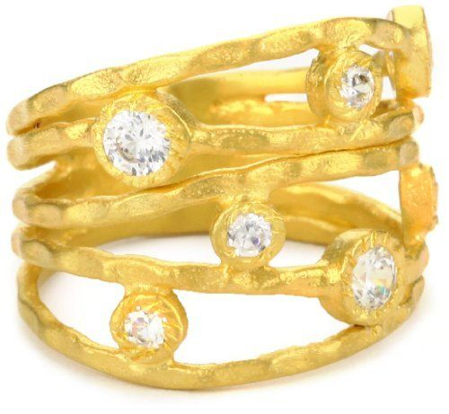 """Kevia """"Genevieve"""" Varied Size Cubic Zirconia Set on Pounded Layer Ring kevia. $115.00. Made in India. Finished with a matte 22K gold plating. Hand pounded finish"""