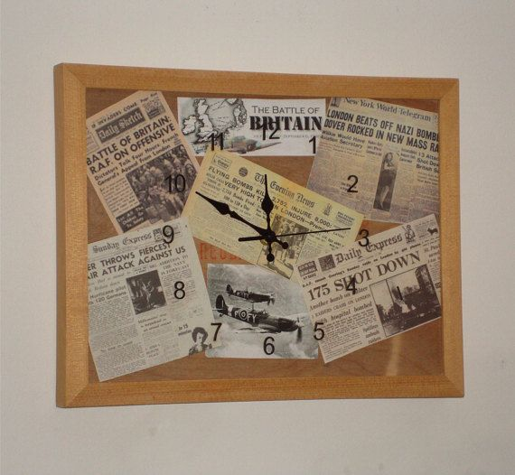 Retro Battle of Britain Limited Edition Wall clock 35 x 27cm Recycled materials