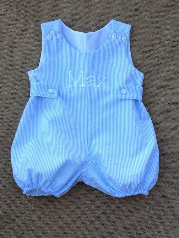 Custom Boutique Spring and Summer Baby Boys or Girls Bubble Jon Jon Romper Personalized with side tab Your Choice Stripe Seersucker SSPGHT