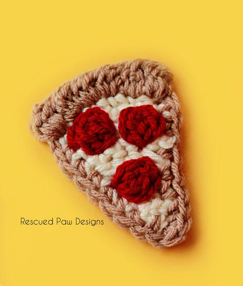 Crochet Pizza Applique Pattern :: Rescued Paw Designs