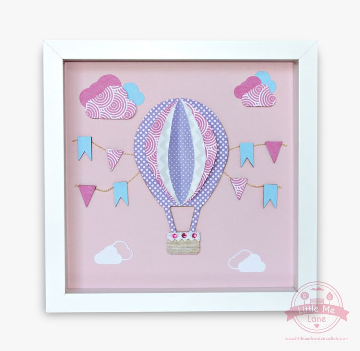 Float away to sweet dreams with our beautiful handmade wall art featuring a hot air balloon.   This original handmade wall art features unique custom designed papers with wood and crystal embellishments.  A charming and delightful artwork in shades of pink, purple and aqua. This piece will brighten any little girl's bedroom.  To purchase visit https://aradium.com/2vz1g