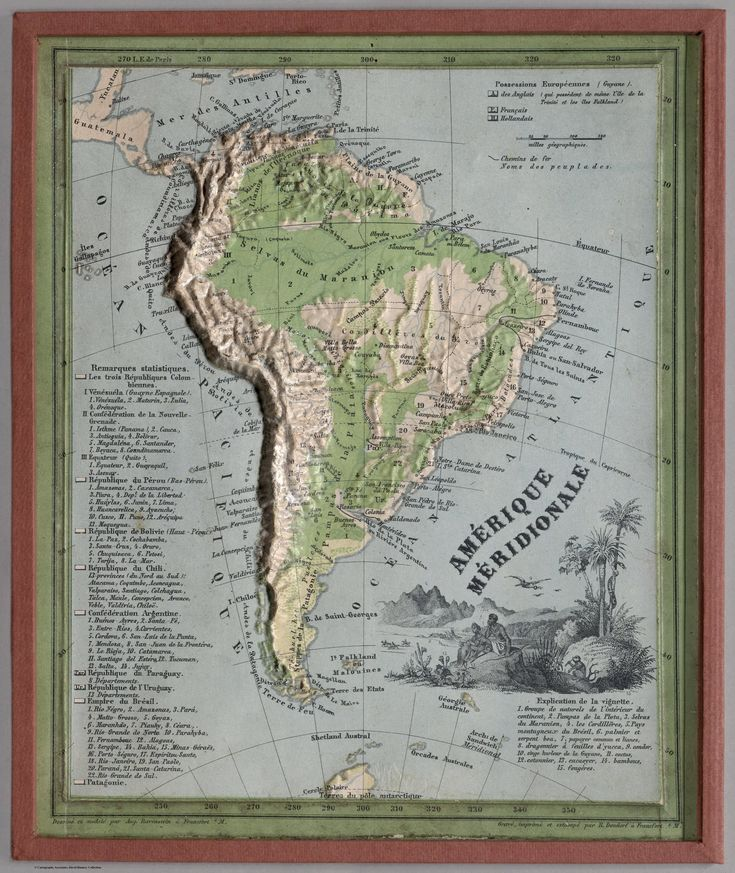 1865 Physical Map of South America 230