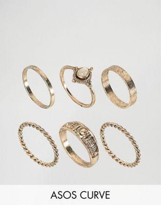 ASOS CURVE Pack of 6 Moonstone Festival Ring Pack
