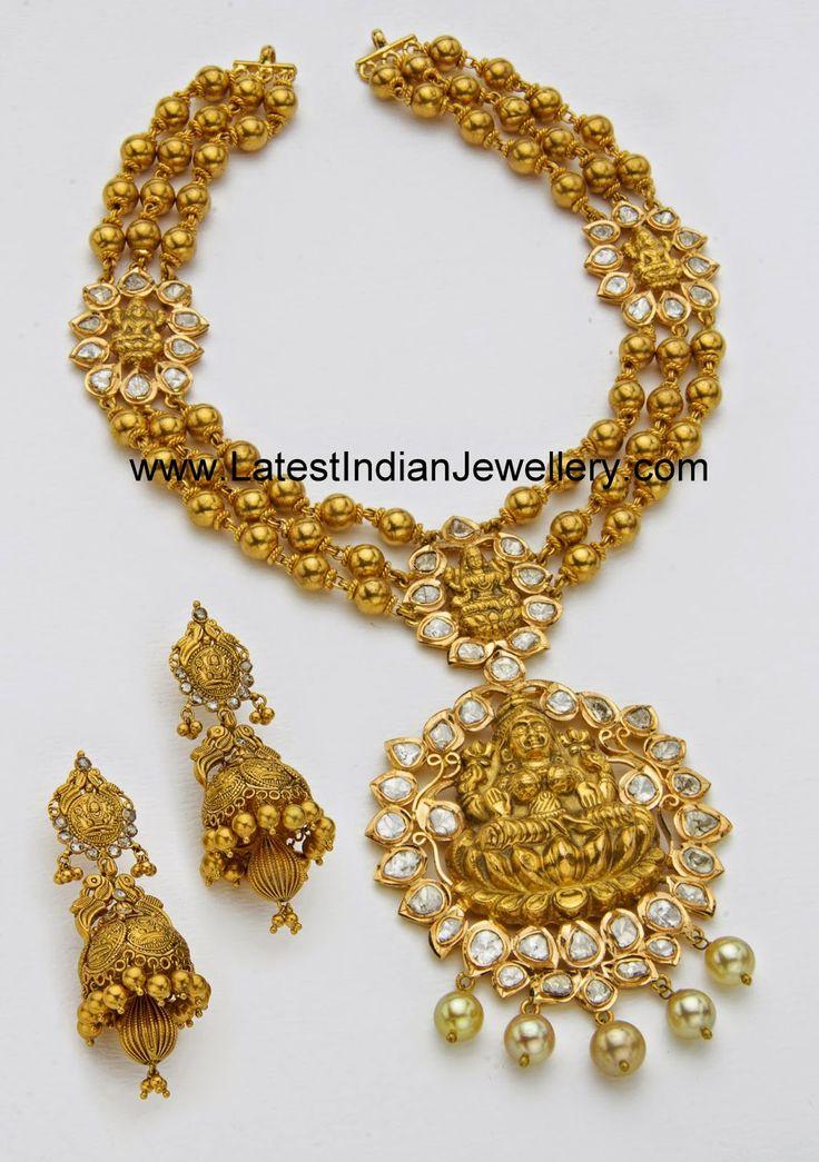 Lakshmi design gold temple jewellery haram