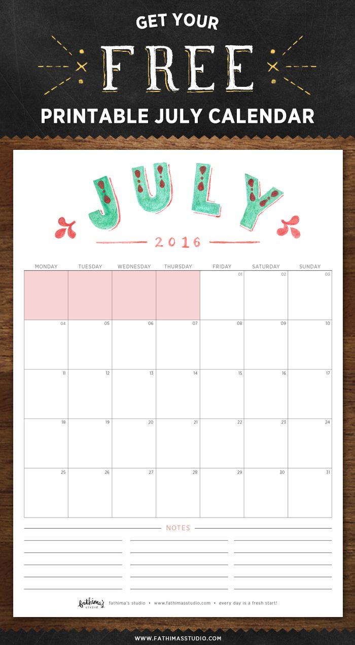 july 2016 free printable calendar planner