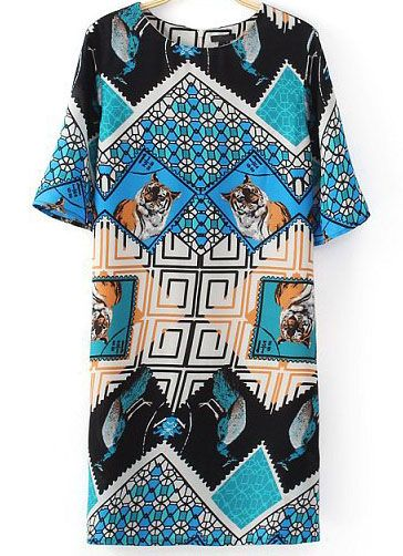 Blue Short Sleeve Geometric Tiger Print Dress - Sheinside.com