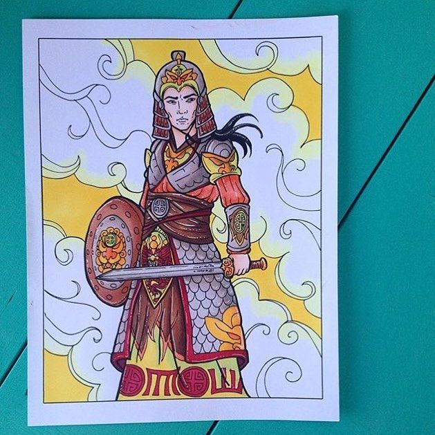 💚Another colouring page done!! Art by @whimsicalillustration and colouring by me!!!💚 #colouringpage #coloringpages #adultcoloringpage #samurai #ninja #warrior #chinesewarrior #asianwarrior #coloringpage #coloringcraze