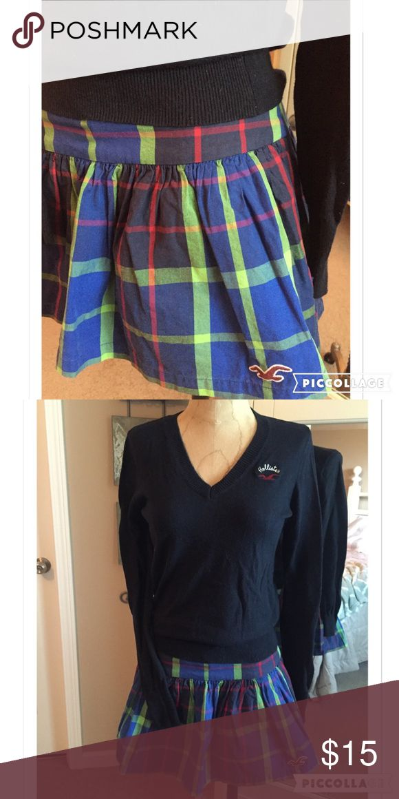 """🤓 Hollister plaid school girl mini skirt XS Back to school cuteness!! Worn once and in perfect condition. Hidden side zipper. Fully lined. Laying flat: waist 14"""", length from top seam to hem 13"""". 100% cotton. Smoke free home. Hollister Skirts Mini"""