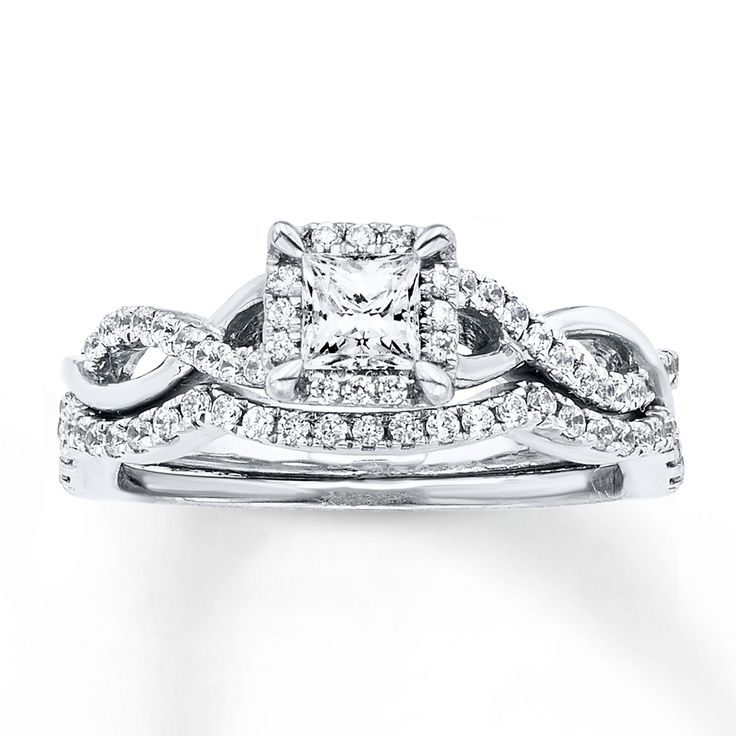 Diamond Bridal Set 3/4 Carat Tw 14K White Gold