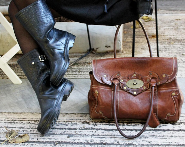 rainboots and Mulberry bag!