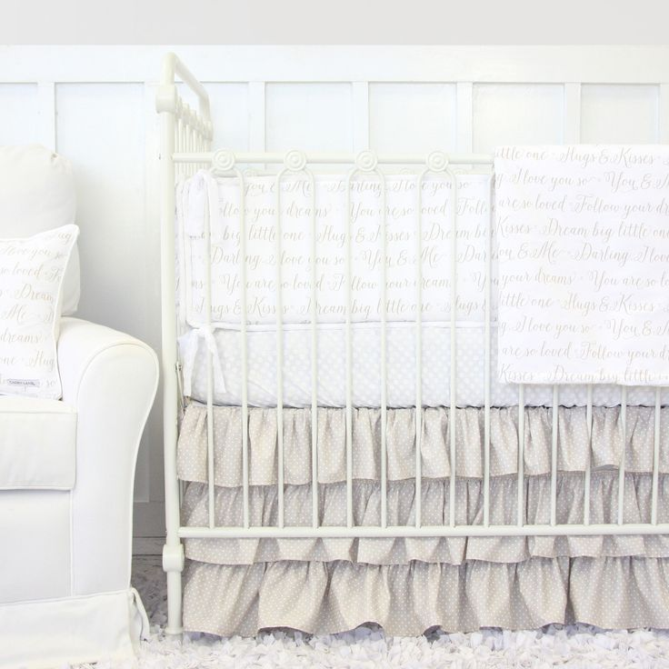 The perfect neutral crib bedding for a rustic nursery - I'm in love with the Love Letters sayings <3