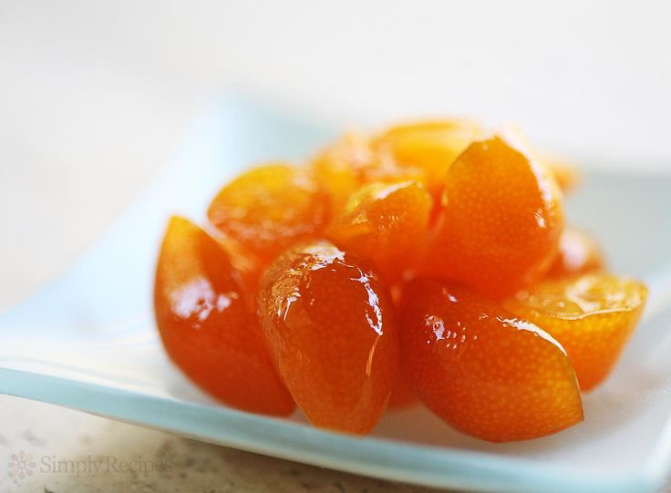 Candied Kumquats ~ Super easy recipe for candying kumquats, those mini citrus you can eat whole. Great as a sweet condiment for meat and cakes. ~ SimplyRecipes.com