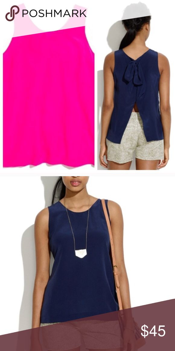 • Madewell • Bow Back Tank Top Pink Small Silk - Madewell - Bow Back Tank Top - Silk - Pink - Size small  - Excellent Condition Madewell Tops Tank Tops