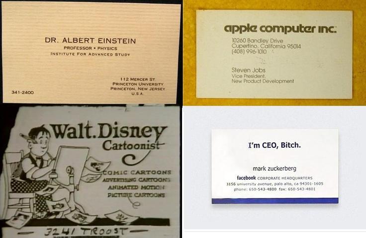 """""""I´m CEO, Bitch"""" assim se apresentava Mark Zuckeberg em seu cartão de visitas. Conheça também os cartões de Einstein, Armstrong, Steve Jobs... Qual o seu favorito?"""